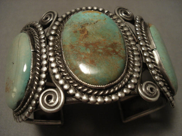 Opulent Very Early Vintage Navajo Natural Green Turquoise Native American Jewelry Silver Bracelet-Nativo Arts