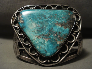Opulent Very Incredible Vintage Navajo 'Triangle Turquoise' Native American Jewelry Silver Bracelet-Nativo Arts