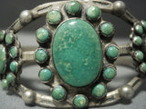 Opulent Vintage 1920's Navajo Ingot/ Coin Native American Jewelry Silver Cerrillos Turquoise Bracelet-Nativo Arts