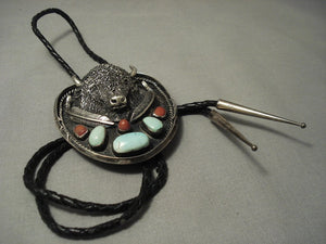 Opulent Vintage **big Buffalo** Turquoise Coral Sterling Native American Jewelry Silver Belt Bolo Tie-Nativo Arts