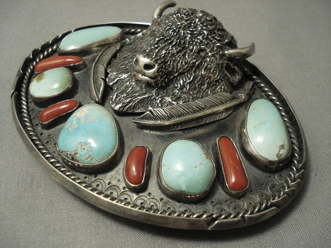 Opulent Vintage **big Buffalo** Turquoise Coral Sterling Native American Jewelry Silver Belt Buckle-Nativo Arts