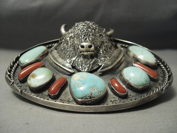 Opulent Vintage **big Buffalo** Turquoise Coral Sterling Native American Jewelry Silver Belt Buckle