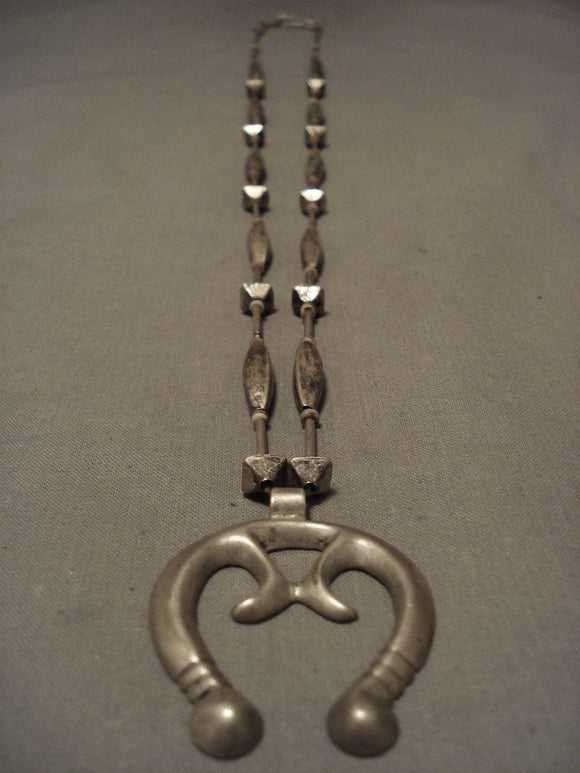 Opulent Vintage Late 1800's/ Early 1900's Hand Pounded Native American Jewelry Silver Necklace-Nativo Arts