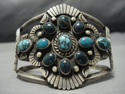 Opulent Vintage Native American Jewelry Navajo Domed Turquoise Sterling Silver Indian Mntn Bracelet-Nativo Arts