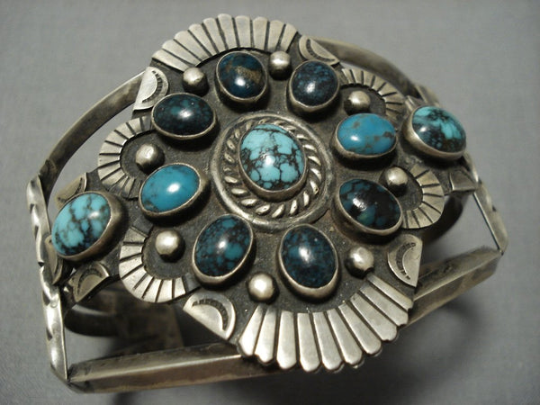 Opulent Vintage Native American Jewelry Navajo Domed Turquoise Sterling Silver Indian Mntn Bracelet