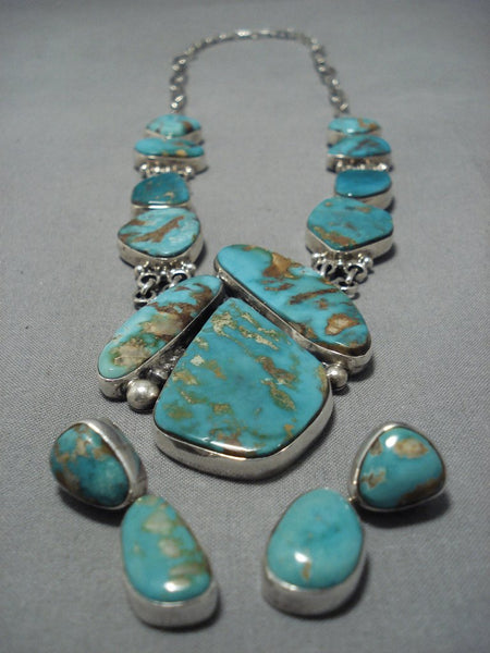 Opulent Vintage Native American Jewelry Navajo Turquoise Sterling Silver Royston Necklace