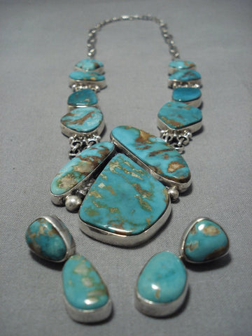 Opulent Vintage Native American Jewelry Navajo Turquoise Sterling Silver Royston Necklace-Nativo Arts