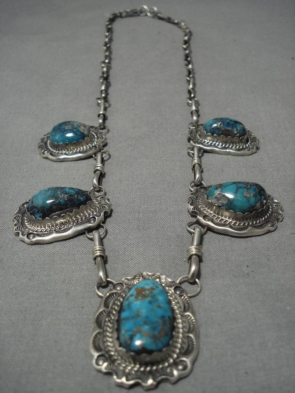 Opulent Vintage Native American Navajo Turquoise Sterling Silver Necklace Old-Nativo Arts
