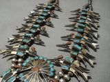 Opulent Vintage Native American Zuni Turquoise Sterling Silver Inlay Squash Blossom Necklace Old-Nativo Arts
