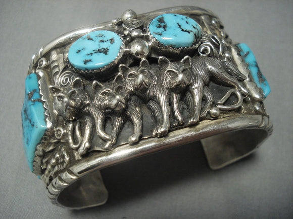 Opulent Vintage Navaj Wolf Pacl Turquoise Sterling Native American Jewelry Silver Bracelet Old Pawn-Nativo Arts