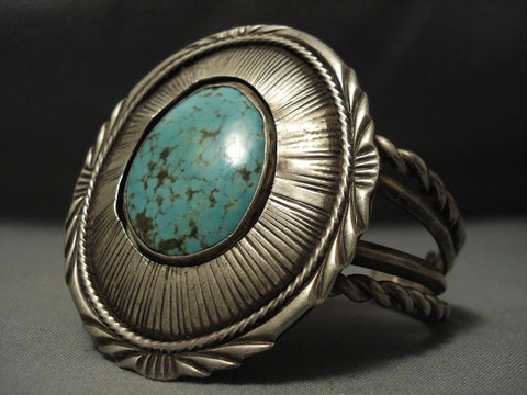 Opulent Vintage Navajo #8 Micro Chisel Sterling Native American Jewelry Silver Bracelet-Nativo Arts