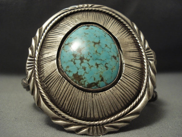 Opulent Vintage Navajo #8 Micro Chisel Sterling Native American Jewelry Silver Bracelet
