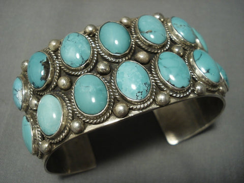 Opulent Vintage Navajo Blue Diamond Turquoise Sterling Native American Jewelry Silver Bracelet Old-Nativo Arts