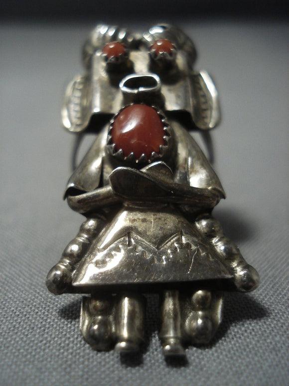 Opulent Vintage Navajo Coral Sterling Native American Jewelry Silver Kachina Ring Old-Nativo Arts