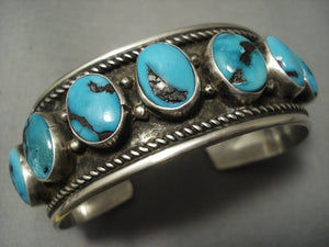 Opulent Vintage Navajo Domed Bisbee Turquoise Sterling Native American Jewelry Silver Singer Bracelet-Nativo Arts