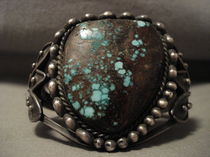 Opulent Vintage Navajo Early 1900's Green Bisbee Turquoise Native American Jewelry Silver Bracelet-Nativo Arts