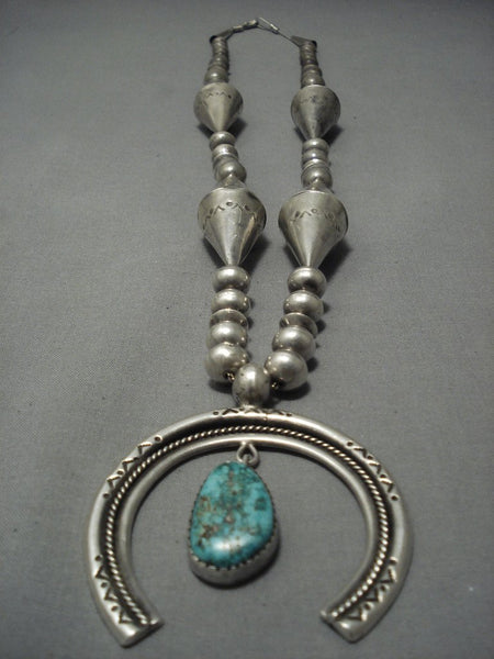 Opulent Vintage Navajo Huge Cone Turquoise Sterling Native American Jewelry Silver Necklace Old Pawn