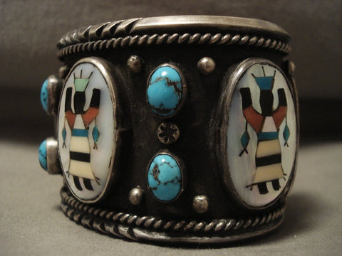 Opulent Vintage Navajo Kachian And Bisbee Turquoise Native American Jewelry Silver Bracelet Old-Nativo Arts