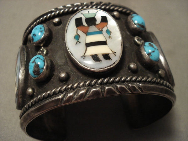 Opulent Vintage Navajo Kachian And Bisbee Turquoise Native American Jewelry Silver Bracelet Old