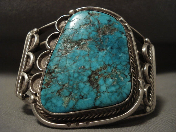 Opulent Vintage Navajo Lone Mountain Turquoise Native American Jewelry Silver Bracelet-Nativo Arts