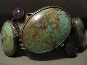 Opulent Vintage Navajo Natural Turquoise & Amethyst Native American Jewelry Silver Bracelet-Nativo Arts
