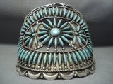 Opulent Vintage Navajo Needlepoint Turquoise Sterling Native American Jewelry Silver Bracelet Old-Nativo Arts
