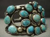Opulent Vintage Navajo Turquoise Cluster Sterling Native American Jewelry Silver Bracelet Old-Nativo Arts