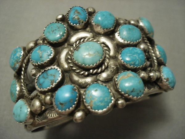 Opulent Vintage Navajo Turquoise Cluster Sterling Native American Jewelry Silver Bracelet Old