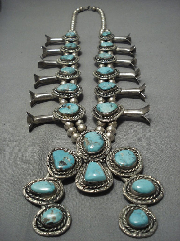 Opulent Vintage Navajo Turquoise Sterling Native American Jewelry Silver Squash Blossom Necklace Old-Nativo Arts