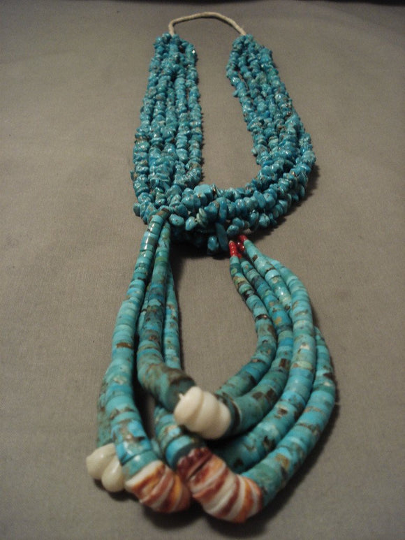 Opulent Vintage Santo Domingo/ Navajo Native American Jewelry jewelry Turquoise Necklace-Nativo Arts