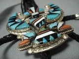 Opulent Vintage Zuni Turquoise Coral Huge Sterling Native American Jewelry Silver Bolo Tie Old-Nativo Arts
