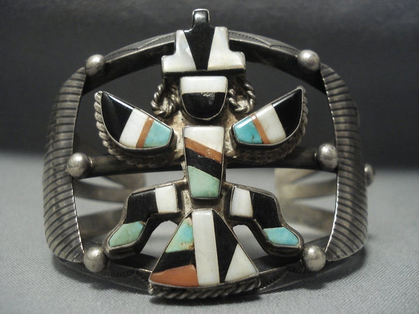 Opulent Vintage Zuni Turquoise Sterling Native American Jewelry Silver Knifewing Bracelet Old Pawn