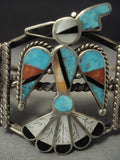 Opulent Vintage Zuni Turquoise Thunderbird Sterling Native American Jewelry Silver Bracelet Old Pawn-Nativo Arts