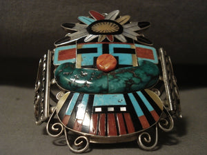 Opulent Zuni Huge Kachina Turquoise Coral Native American Jewelry Silver Bracelet-Nativo Arts