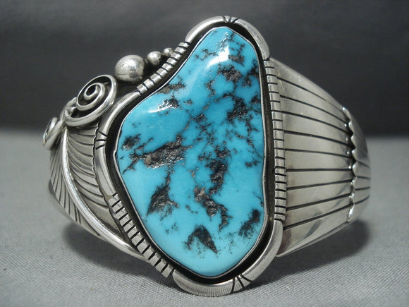 Outstanding Vintage Navajo Old Morenci Turquoise Sterling Native American Jewelry Silver Cuff Bracelet-Nativo Arts
