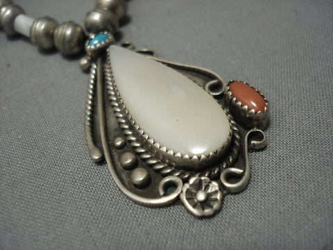 Outstanding Vintage Navajo Turquoise Sterling Native American Jewelry Silver Necklace Old Pawn-Nativo Arts