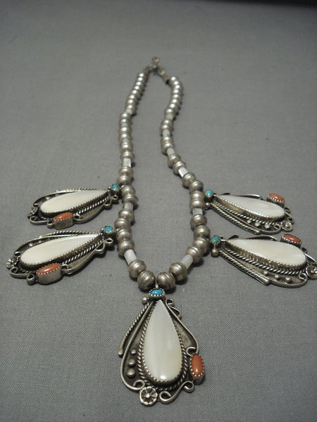 Outstanding Vintage Navajo Turquoise Sterling Native American Jewelry Silver Necklace Old Pawn