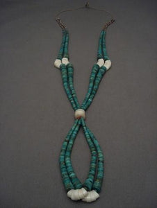 Outstanding Vintage Santo Domingo Royston Turquoise Heishi Necklace-Nativo Arts