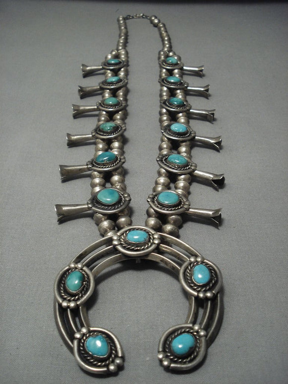 Over 200 Grams! Vintage Navajo Squash Blossom Sterling Native American Jewelry Silver Turquoise Necklace-Nativo Arts