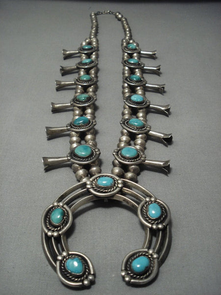 Over 200 Grams! Vintage Navajo Squash Blossom Sterling Native American Jewelry Silver Turquoise Necklace