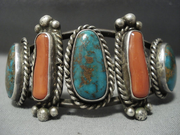 Phenomenal Vintage Navajo Turquoise Coral Sterling Native American Jewelry Silver Bracelet-Nativo Arts