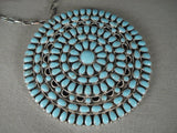 Powerful Huge Vintage Navajo 'Sea Of Turquoise' Native American Jewelry Silver Necklace Old-Nativo Arts