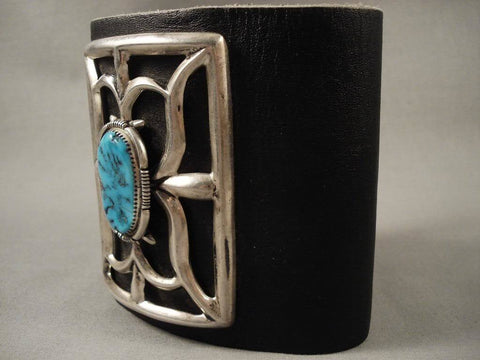 Powerful Vintage Navajo Domed Turquoise Native American Jewelry Silver Ketoh Bracelet-Nativo Arts