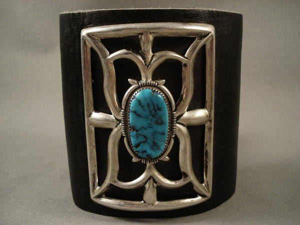 Powerful Vintage Navajo Domed Turquoise Native American Jewelry Silver Ketoh Bracelet