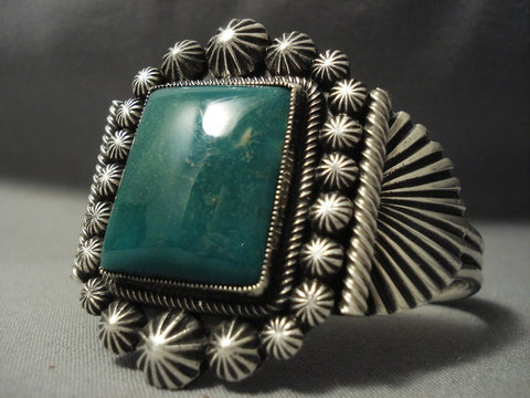 Precise Detailing Vintage Navajo **squared Green Turquoise** Native American Jewelry Silver Bracelet-Nativo Arts