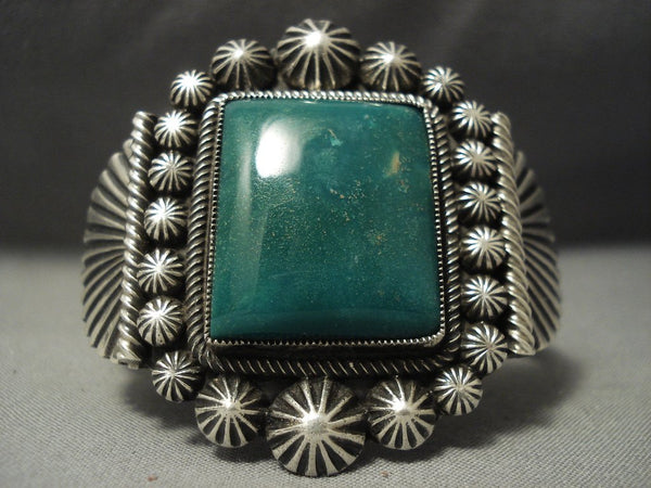 Precise Detailing Vintage Navajo **squared Green Turquoise** Native American Jewelry Silver Bracelet