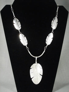 Private layaway- Important Famous Artist Navajo Native American Jewelry Silver Feather Necklace-Nativo Arts