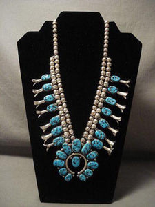 PRIVATE LAYAWAY- VIVID BLUE VINTAGE NAVAJO TURQUOISE SQUASH BLOSOM NECKLACE-Nativo Arts