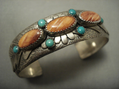Quality Advanced Work Vintage Navajo Spiny Oyster Turquoise Native American Jewelry Silver Bracelet-Nativo Arts