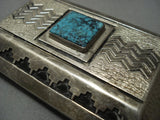 Quality Concave Vintage Navajo Turquise Sterling Native American Jewelry Silver Buckle Old Pawn-Nativo Arts